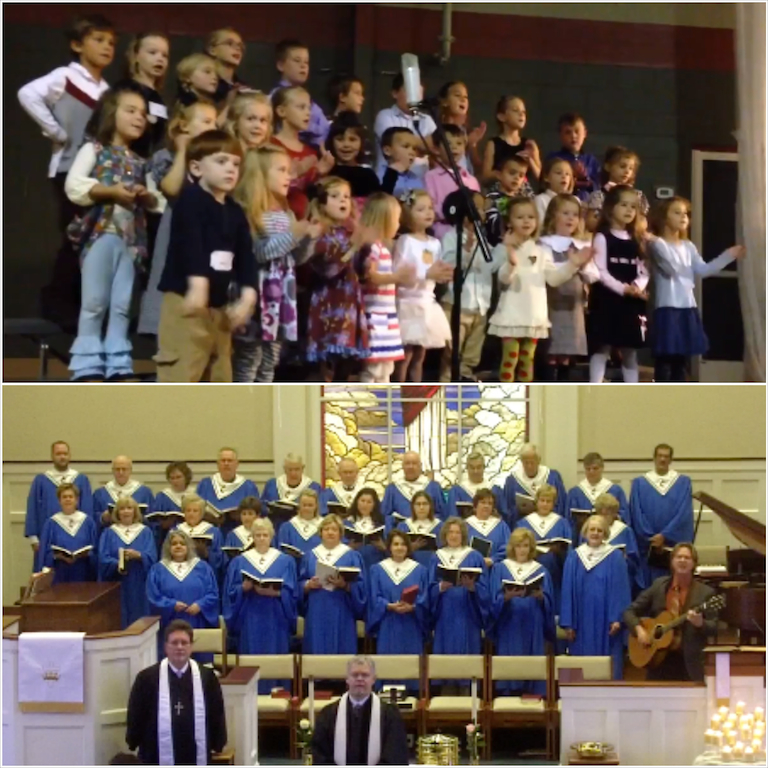 Worship on November 3, 2013. Above: Kids Praise Team and Joyful Noise.
